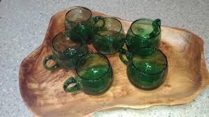 green bubble glass mugs antique west