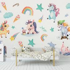 Girls Room Decor Cute Rainbow Unicorn Wall Stickers Diy Vinyl Home Wall Decals Kids Living Room Bedroom Cartoon Horse Wallpaper Wall Stickers Aliexpress