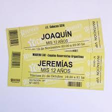 Invitaciones Cumpleanos 18 Anos Varon Tarjetas Ticket X15 150