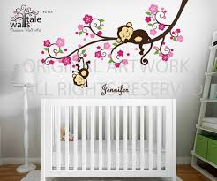 Girl Monkey Nursery Blossom Tree Branch Wall Decal With Cute Monkeys And Name Decal For Baby Room Nursery Wall S Tale Wall Decals Turkey