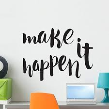 Amazon Com Bifullis Letters Wall Decor Stickers Make It Happen Unique Wall Decal Peel And Stick Graphic Home Kitchen