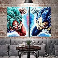 Amazon Com 2 Piece Hd Cartoon Wall Sticker Painting Goku Vegeta Dragon Ball Super Anime Poster Digital Art Canvas Painting For Wall Decor 8x12inchx2 Posters Prints