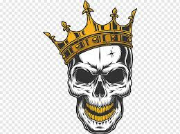 Skull Wearing Gold Crown Illustration Skull Decal Drawing Skull King Logo Sticker Fictional Character Png Pngwing