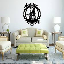 Amazon Com Haunted House Wall Decal Halloween Themed Vinyl Sticker For Home Decor Office Classroom Spooky Mansion Picture Frame Mural Handmade