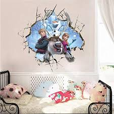 Amazon Com Ttdylm Cartoon Princess 3d Broken Hole Wall Stickers For Home Decoration Frozen Anime Mural Art Kids Room Wall Decal Kitchen Dining
