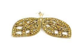 gold bead net chandelier earrings by
