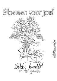 Kleurplaat Bloemen Voor Jou Letters Met Liefde