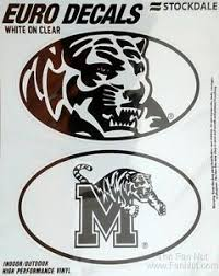 Memphis Tigers 2 Pack Euro Style Oval Home Auto Decals Sticker University Of 614934677391 Ebay
