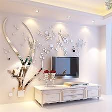 Amazon Com 3d Mirror Tree Wall Sticker Crystal Acrylic Dot Mirror Wall Decal Art Home Decor For Living Room Bedroom Silver L Home Kitchen