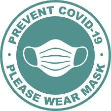 Hubert Teal White Vinyl Prevent Covid 19 Please Wear Mask Decal 8 1 2 Dia