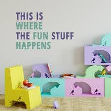 Where The Fun Happens Playroom Wall Decal Kids Wall Decal Children S Wall Decal Playroom Rules Wall Sticker Kids Play Decals