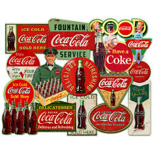 Coca Cola Fountain Service Antique Style Collage Wall Decal At Retro Planet