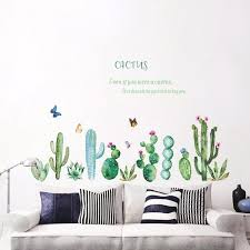 Summer Tropical Succulent Plants Cactus Wall Stickers Decal Kids Preschool Decor Plant And Cartoon Wall Stickers Wall Stickers Aliexpress