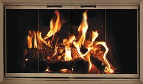 fireplace glass doors stock zero