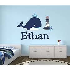 Amazon Com Personalized Whale Name Wall Decal Nursery Wall Decals Nautical Wall Decals Lighthouse Art Vinyl Sticker Baby