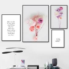 splspl modern flower paintings pink rose literary quotes nordic