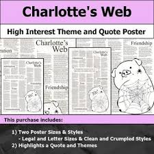 charlotte s web visual theme and quote poster for bulletin boards