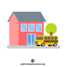 Cartoon Image of Schoolhouse and Bus