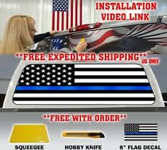 Thin Blue Line Police Support American Flag Pickup Truck Back Window Decal Tint Ebay