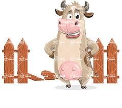 Cute Cow Cartoon Vector Character Aka Cody Broken Fence Graphicmama