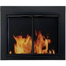cabinet style fireplace glass door