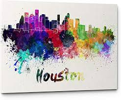 Amazon Com High Quality Watercolor Houston City Skyline Canvas Wall Art Prints Modern Abstract Cityscape Wall Art Print Gallery Wrapped Giclee Canvas Art Home Decor Office Decor Ready To Hang Houston Posters