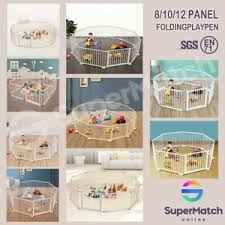 Wooden Baby Playpen Pet Kids Toddler Fence Play Yard Foldable 8 10 12 Panel Ebay
