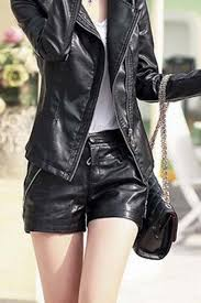 y faux leather shorts with zipper