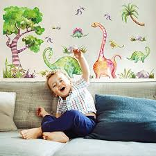 Amazon Com Amaonm Removable Dinosaur And Tree Wall Stickers Diy Kids Room Nursery Decor Peel Stick Wall Decals Murals For Boys Girls Bedroom Living Room Bathroom Playroom Home Walls Background Decorations Baby