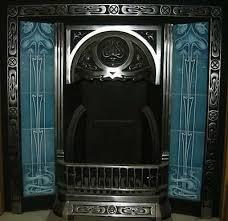 art nouveau fireplace tile