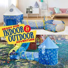 Shop Kids Play Tent Rocket Ship Kids Playhouse Tent W Crawl Tunnel Ball Pit Overstock 31887486
