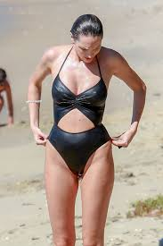 Candice Swanepoel At the beach in a revealing one piece swimsuit in Victoria,  Brazil - Celebzz - Celebzz
