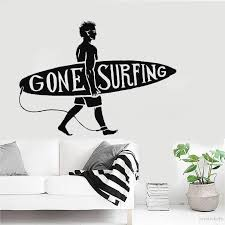 New Sport Series Wall Decal Surfing Guy Surf Beach Surfer Wall Sticker Vinyl Art Design Mural Home Bedroom Decoration Joy150 Wall Stickers Aliexpress