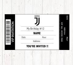 Juventus Invitation Printable Digital Birthday Party Invitation