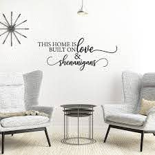 Amazon Com My Vinyl Story Family Wall Decals For Living Room Decor Family Wall Decor Wall Stickers Decorations Home Art Bedroom Love Decals Quotes Word This Home Is Built On Love