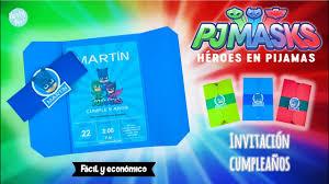 Pj Masks Heroes En Pijamas Invitacion De Cumpleanos