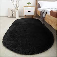 Amazon Com Softlife Fluffy Area Rugs For Bedroom 2 6 X 5 3 Oval Shaggy Floor Carpet Cute Rug For Girls Room Kids Room Living Room Home Decor Black Home Kitchen