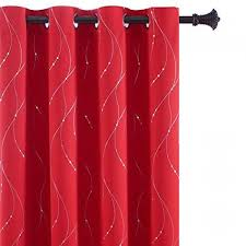 Buy Bu Hua Red Blackout Curtains With Silver Wave Line Dots Kids Room Darkening Curtain Panels For Bedroom 52w By 63l Inch Christmas Red Set Of 2 Online At Low Prices In