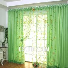 Kids Room Fun Cute Beautiful Green Floral And Leaf Sheer Curtains
