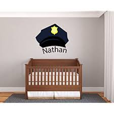 Amazon Com Custom Name Police Hat Prime Series Baby Boy Nursery Wall Decal For Baby Room Decorations Mural Wall Decal Sticker For Home Children S Bedroom J195 Wide 20 X18 Height Baby