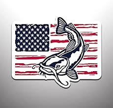 Amazon Com Catfish With American Flag Vinyl Decal Sticker 2 Pack Cars Trucks Vans Suvs Windows Walls Cups Laptops Full Color Printed And Laminated 2 5 5 Inch Kcd2451 Automotive