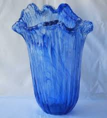 blue murano glass vase waves by tammaro