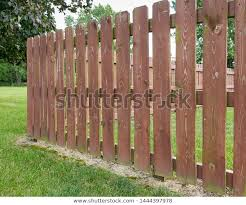 Wooden Privacy Fence Backyard Peeling Paint Stock Photo Edit Now 1444397978