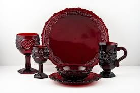 avon cape cod red glass dishes 1 place