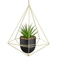 Hanging Geometric Planter With Foliage Artificial Plants B M