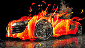 red ford mustang 3d car fire wallpaper