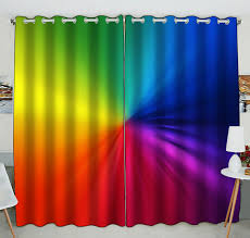 Zkgk Joint Color Rainbow Window Curtain Drapery Panels Treatment For Living Room Bedroom Kids Rooms 52x84 Inches Two Panel Walmart Com Walmart Com