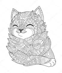Hand Drawn Zentangle Portraits Hand Drawn Fluffy Cat Portrait In