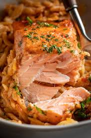 Roasted Salmon with Orzo in Vodka Sauce ...
