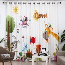 Kids Room Giraffe Bunny Cartoon Baby Window Curtains Nursery Cute